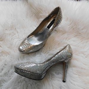 white house black market metallic snake pumps